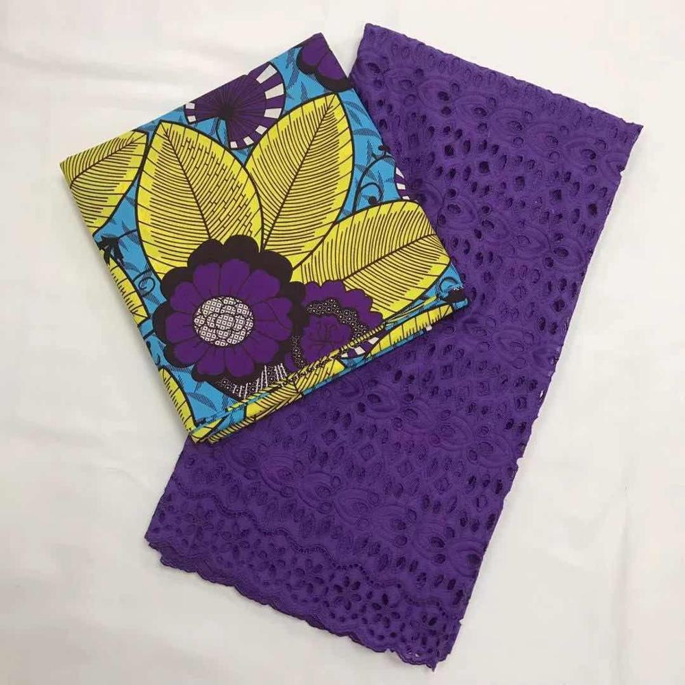 Purple Pange African Wax Fabric With Net Lace, 100% Cotton Dutch Real Wax Super Hollandais Holland Wax Prints Nigerian Ankara