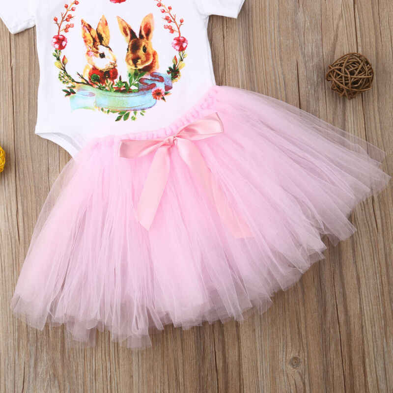 Recién Nacido chico niñas Pascua camisetas de conejito mameluco tutú Mini falda vestido trajes ropa 2 uds conjunto