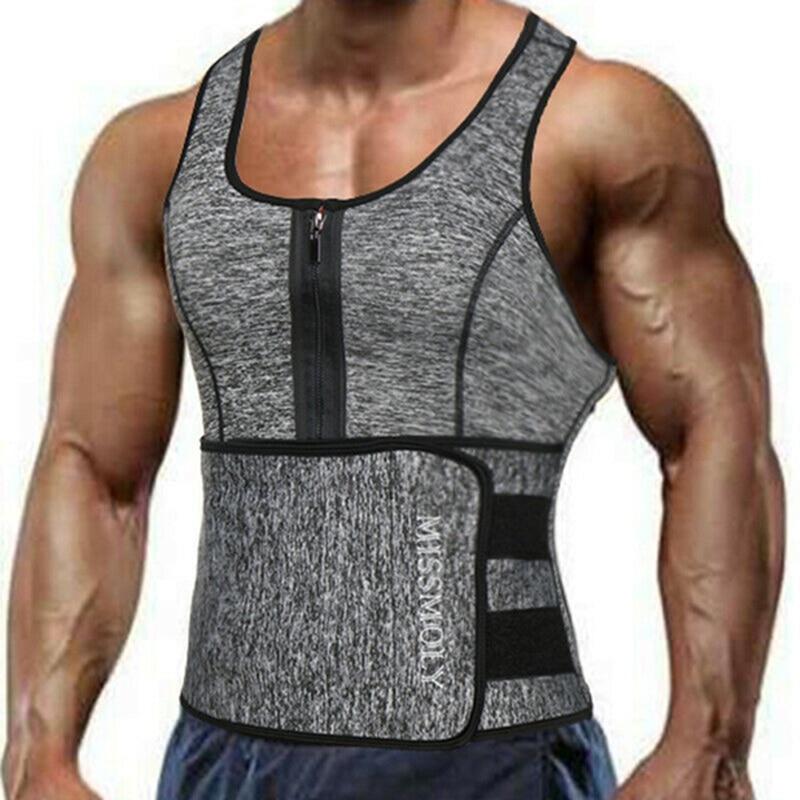 Men's Sweat Sauna Vest Waist Trainer Body Shaper Neoprene Tank Top Compression Shirt Workout Fitness Back Support Gym Suit