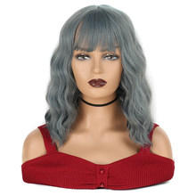 Short Natrual Wave Bob Wigs with Air Bangs for Women Synthetic Heat Resistant Fiber for Party Cosplay Wig Ombre(China)
