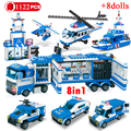 1122 шт. 8in1 SWAT армейские город полицейский участок модель строительные блоки и Amrs пистолет друзей, кирпичи, обучающие игрушки для детей