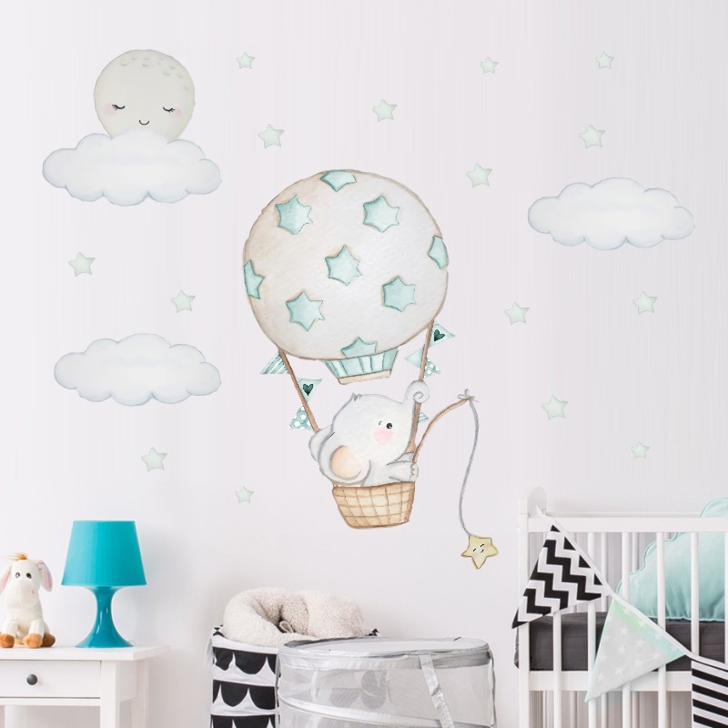 Cartoon Baby Elephant Wall Stickers For Kids Room Baby Nursery Room Decoration Hot Air Balloon Wall Decals Cloud Moon Stars PVC