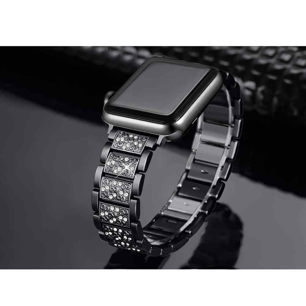 Apple watch band 5 44mm 40mm woman Diamond  strap iwatch Watch Series 4 3 2 1 stainless steel iphone watch bracelet 42mm 38mm