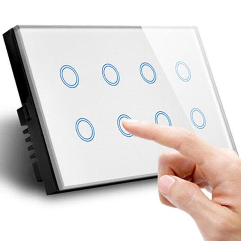 parede luz tomada painel vidro 8 gang 05