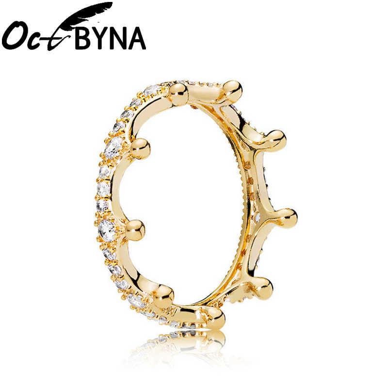 Octbyna קלאסי קריסטל מותג טבעת לנשים באיכות גבוהה זירקון Bow-קשר כתר קסמי טבעת חתונה תכשיטי אירוסין מתנות