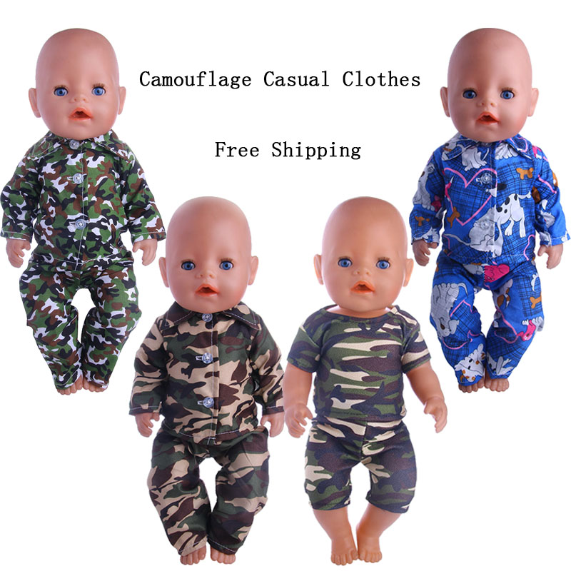 Camouflage Casual Clothes, Spring  Suitable 18-Inch American Dolls And 43cm Baby Doll Clothes Accessories, Children's Best Gifts