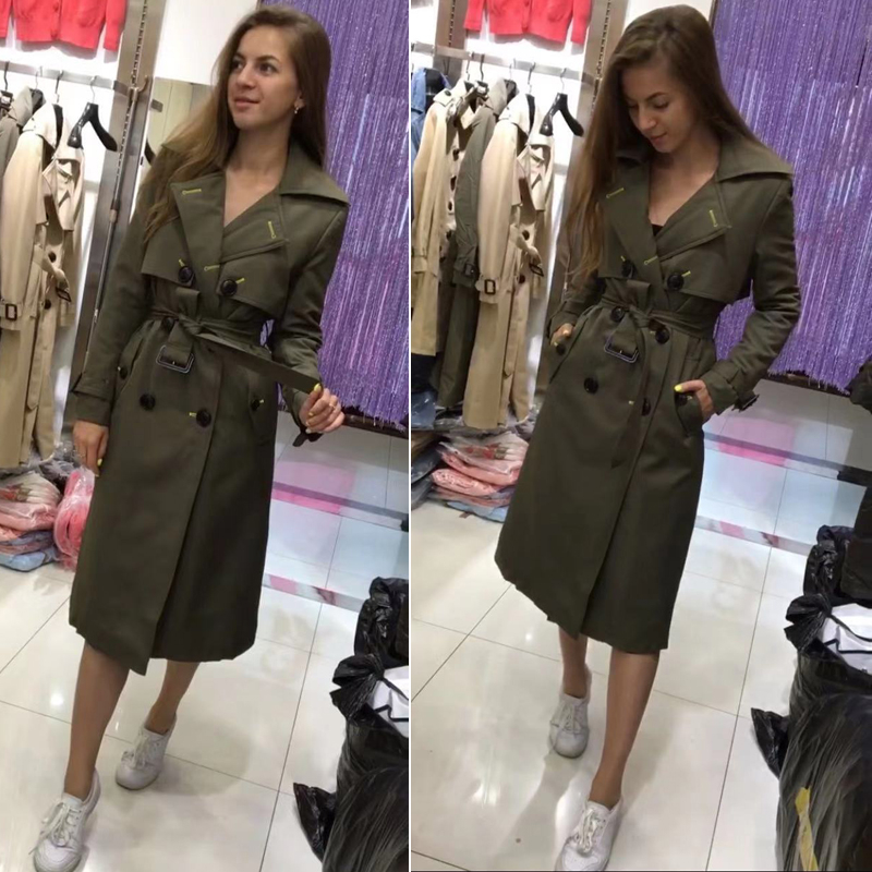Womens Winter Warm Thick Trench  Long Temperament Double Buttons With Belt Cotton Coat Ladies
