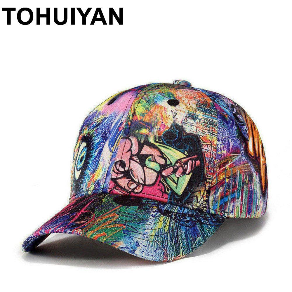 TOHUIYAN Graffiti Printed Baseball Cap Men Women Hip Hop Hats Fashion Brand Baseball Hat Unisex Adjustable Sports Caps Gorras