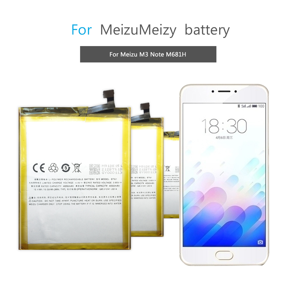 Mobile Phone Battery BT61 (M) For Meizu M3 Note Battery BT61 M681H M681 4000mAh /M3 Note Pro Prime Replacement Battery