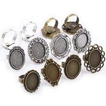 Ajuste 13x18mm 5 pçs bronze e prata antigo chapeado cores oval ajustável anel configurações em branco/base, cabochons de vidro apto 13*18mm