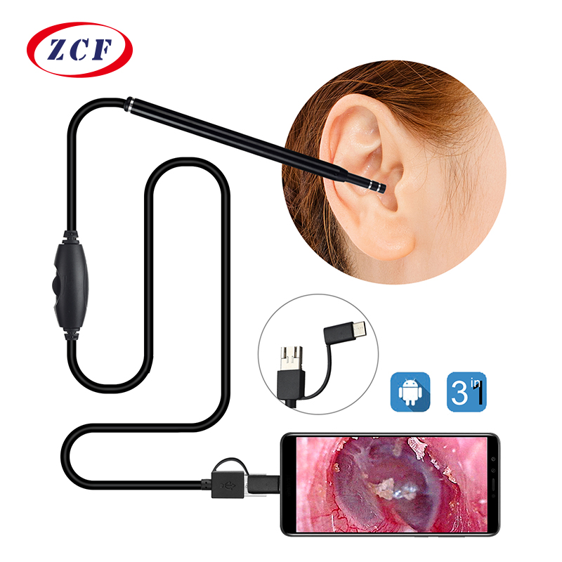 5.5mm 3 em 1 câmera de limpeza de orelha android endoscópio câmera usb otoscópio borescope tipo-c orelha otoscópio médico