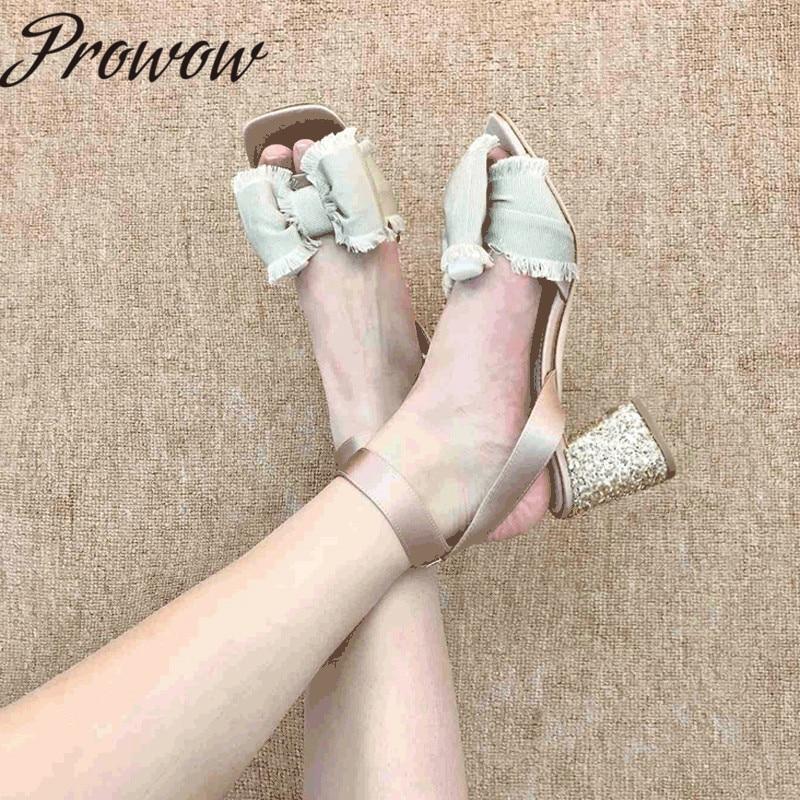 Prowow New Summer Cute Bowtie Satin Sandals Open Toe Glitter Thick Heel High Heel Beach Party Sandals Shoes Women