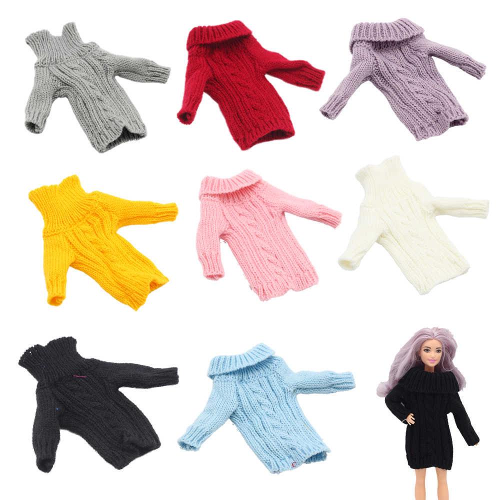 패션 인형 코트 순수 수동 의류 니트 수제 스웨터 탑 드레스 바비 인형 1/6 BJD Blythes 인형 액세서리 Gif
