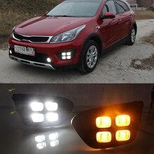 Auto 12V Drl Dag Lichten Lamp Voor Rusland Kia Rio X Lijn 2018 2019 Hoogtepunt Auto Rijden Daytime running Lights Op Auto Drl