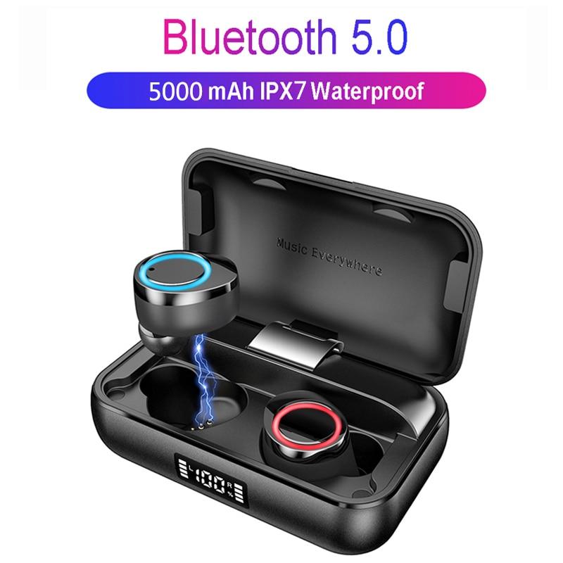 Teamyo TWS Bluetooth5.0 Wireless Bluetooth Earphones Headphones IPX7 Waterproof 5000mAh LED Smart Power Bank