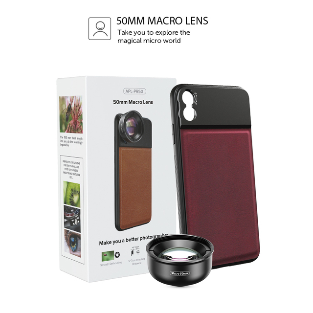 APEXEL HD optic camera phone lens 50mm super macro lens  with 17mm thread phone case for iPhonex xs max Samsung s9 all smartphon 5