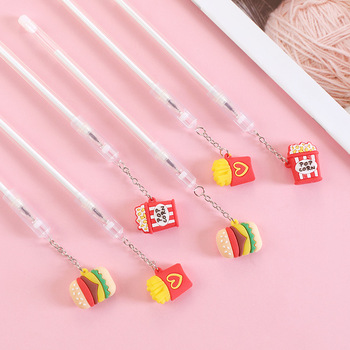 Creative Hamburger Pendant Gel Pen Cute 0.38 Mm Black Ink Neutral Pens School Office Writing Supplies Promotional Gift