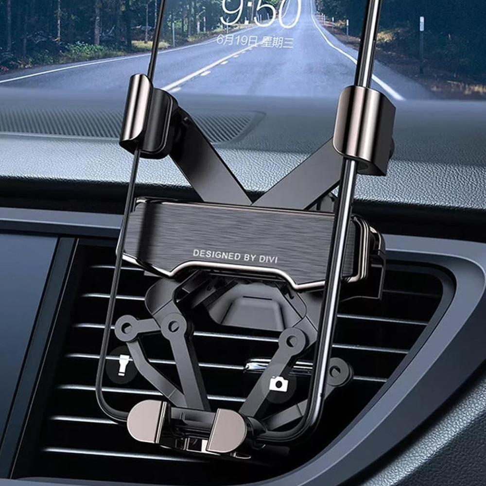 Universal Gravity Linkage Automatic Lock Air Vent Car Phone Holder Mobile Phone Stand Telephone