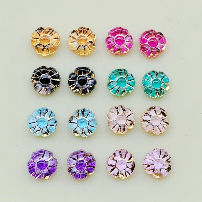 100 pcs 8 mm Acryl Flower Flatback Rhinestone Wedding decorate Buttons DIY Craft