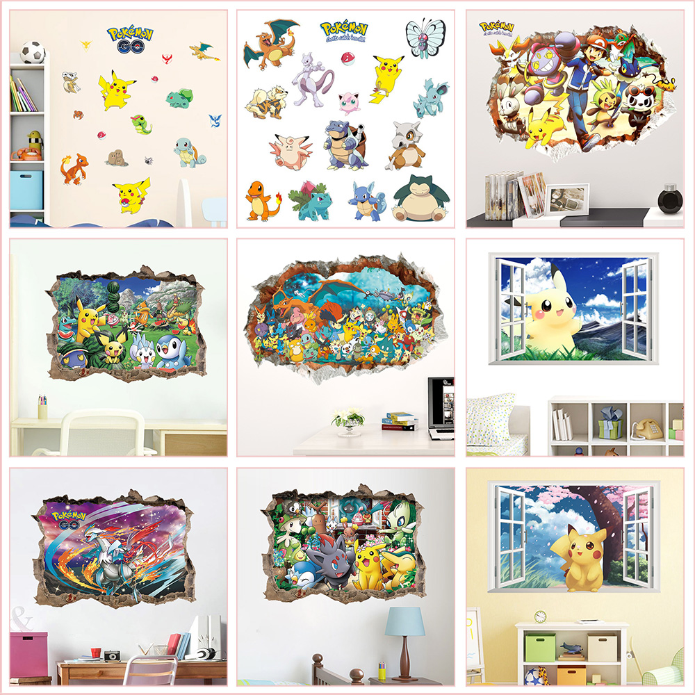 lovely-font-b-pokemon-b-font-animals-wall-stickers-for-kindergarten-kids-room-bedroom-home-decoration-diy-3d-hole-wall-mural-pvc-decals