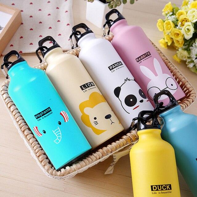 Botella de agua portátil para niños, botella de agua de 500ml con bonitos animales para deportes al aire libre, ciclismo, Camping, bicicleta y senderismo