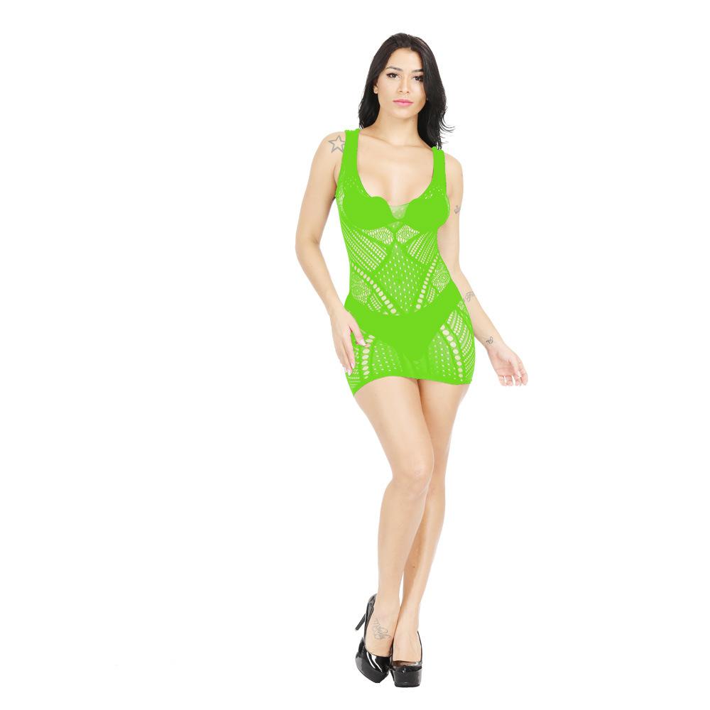 Hba3c7290dd114194a783eac657b63b22j Mujer lencería Sexy vestido de red muñeca conjunto pijamas tirantes falda de talla grande Halter erótico Sexy pijamas sexo Accesorios