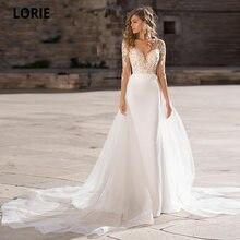 Свадебное платье с длинным рукавом кружевной аппликацией