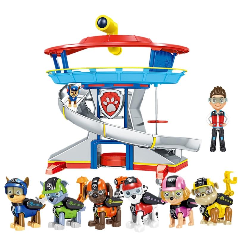 Pat' patrouille chien jouets Base de sauvetage centre de commande chiot patrouille ensemble Patrulla Canina Anime figurines modèle jouet pour enfants cadeau