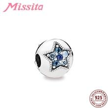 MISSITA 925 Sterling Silver Star Blue Crystal Safety Bead Clip Charm fit Pandora Bracelet DIY Jewelry Women Bangle Accessories