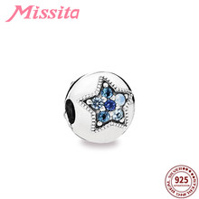 MISSITA 925 Sterling Silver Star Blue Crystal Safety Bead Clip Charm fit Pandora Bracelet DIY Jewelry Women Bangle Accessories(China)