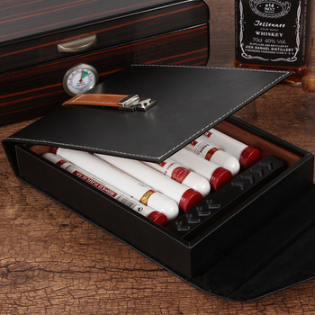 GALINER Travel Humidors Leather Cigar Case Bag Style Cigars Humidor Box Cedar Wood Accessories For Cohiba Cigars W/ Humidifiers