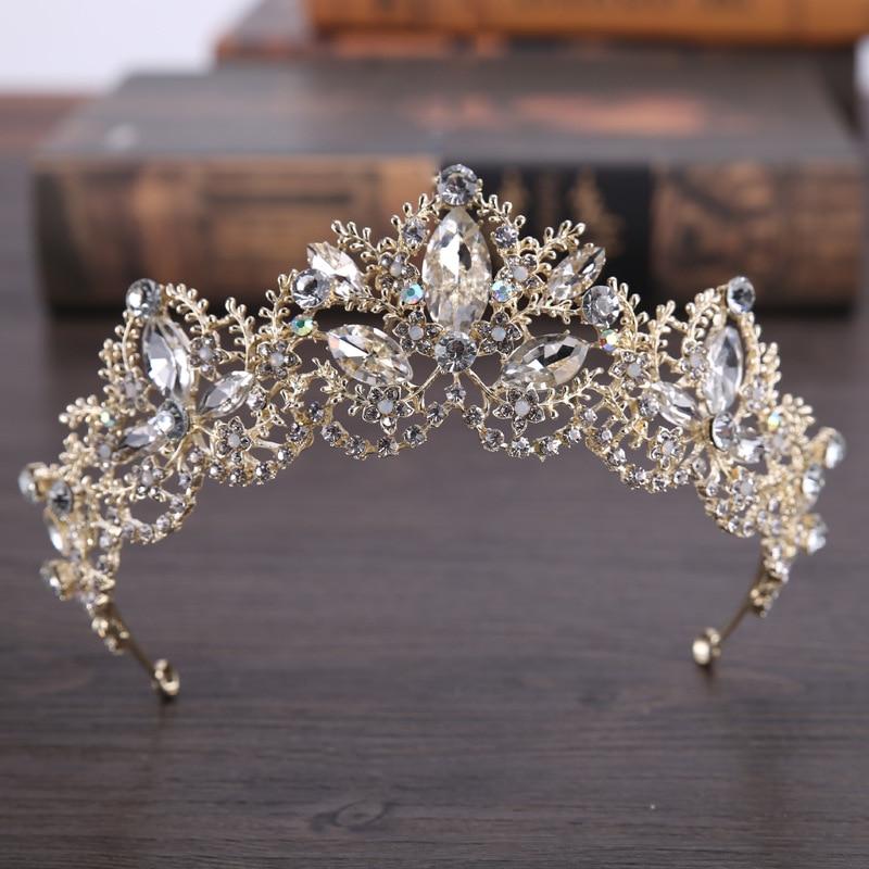 AiliBride Fashion Baroque Luxury Crystal AB Bridal Crown Tiaras Light Gold Diadem Tiara For Women Bride Wedding Hair Accessories
