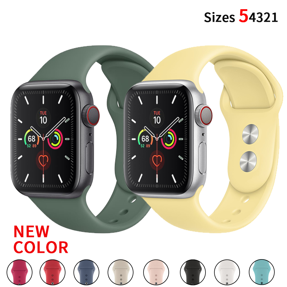 Soft Silicone Replacement Sport Band For 38mm 42mm Apple Watch Series1 2 3 4 5  Wrist Bracelet Strap For IWatch Sports Strap