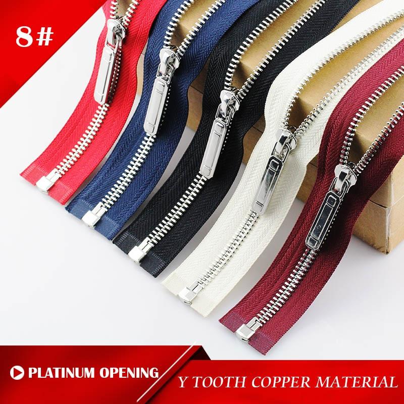 8 #60/70/80/90/100/120/150 cm Y dentes de metal zipper extremidade aberta bloqueio automático platinum plating zíperes para costura roupas