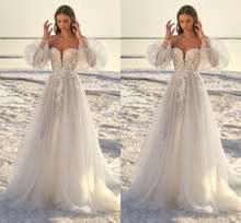 2021 Новое свадебное платье с длинными рукавами и кружевной