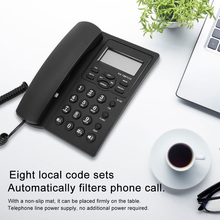 Corded Telephone Lcd-Screen-Display Office Hands-Free Home English Phones with Black