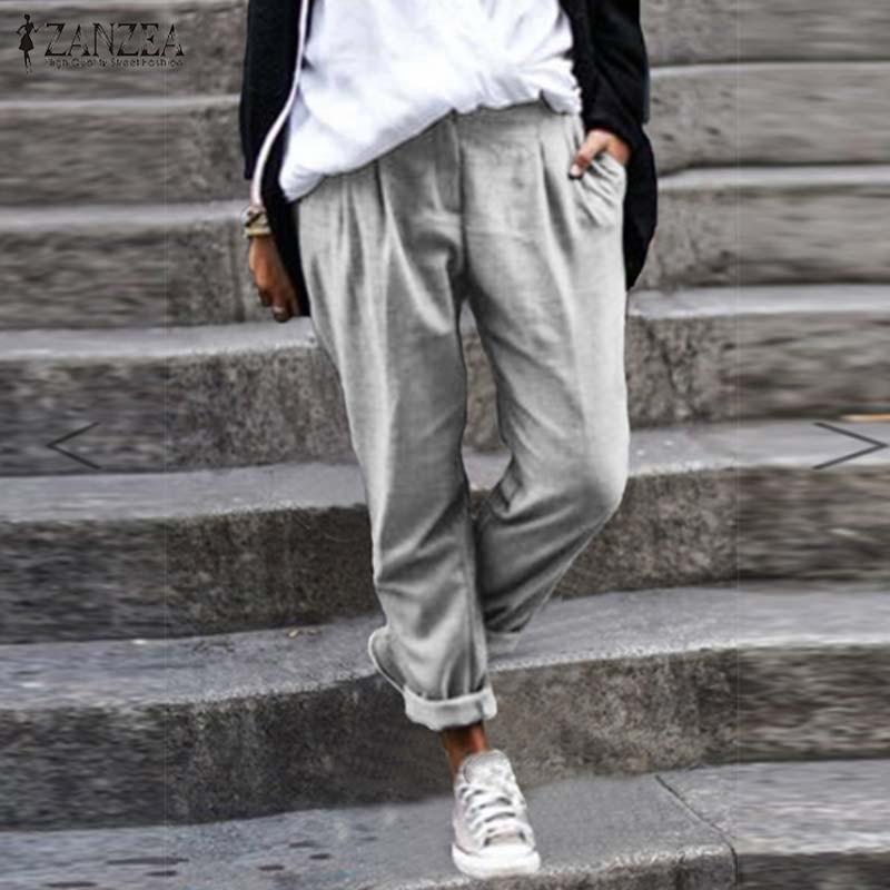 ZANZEA 2019 Autumn Cotton Linen Pants Women Harem Pants Casual Solid Long Trousers Female Loose Turnip Pantalon Plus Size Pant
