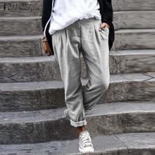 Linen Pants Plus-Size Long-Trousers Loose Cotton Solid Casual Women Turnip ZANZEA Autumn