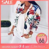 Весенние женские куртки размера плюс, ретро пальто с цветочным принтом, женская верхняя одежда с длинным рукавом, короткая куртка-бомбер, то...
