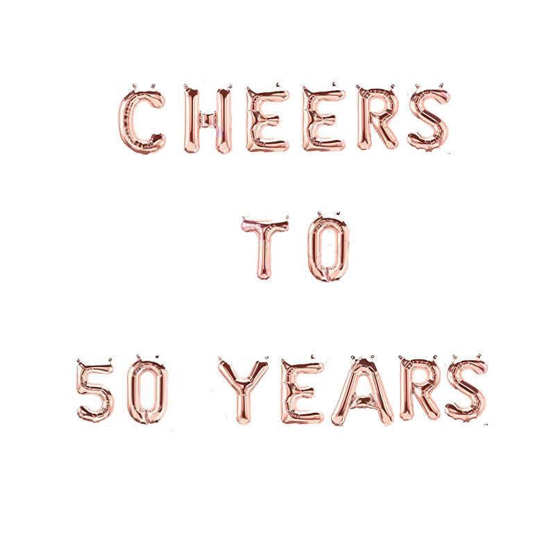 Alta Qualidade 16 Polegada cheers para 30 40 50 60 70th Feliz Aniversário carta Ouro Rosa Número Um Balão de alumínio Aniversário decoração do partido Suprimentos