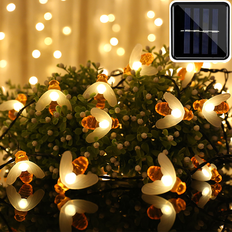 New Solar Powered Cute Honey Bee Led String Light 20leds 50leds 100leds Bee Outdoor Garden Fence Patio Christmas Garland Lights