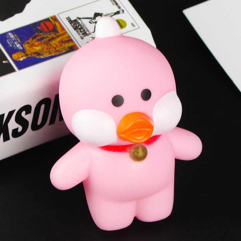 Fluxo de Ácido Hialurônico pouco amarelo Pato Dos Desenhos Animados chaveiro de Blush Bonito Pato Silicone corrente Chave da Boneca PVC brinquedos para crianças pingente