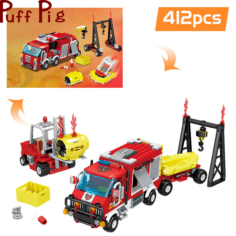 412PCS Firefighting Forest Rescue Fire Truck Building Blocks Set Legoingly City Firefighter Figures Kids DIY Toys For Kids gift