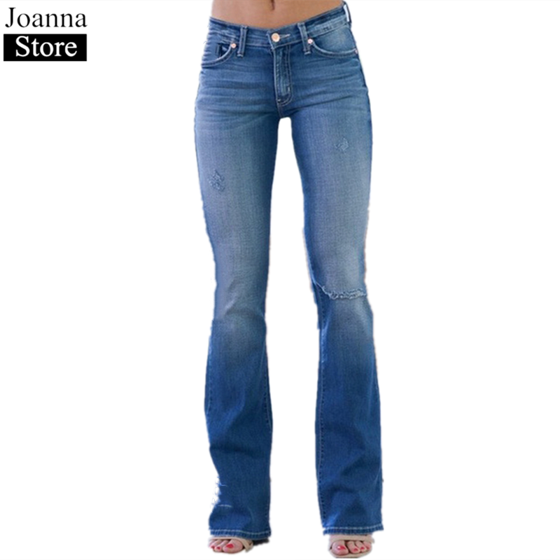 Women Flare Jeans Mid-Rise Long   Slim Jeans Female Hole Pants Plus Size Summer Tight Stretch Bell-Bottom Ladies Casual Trousers