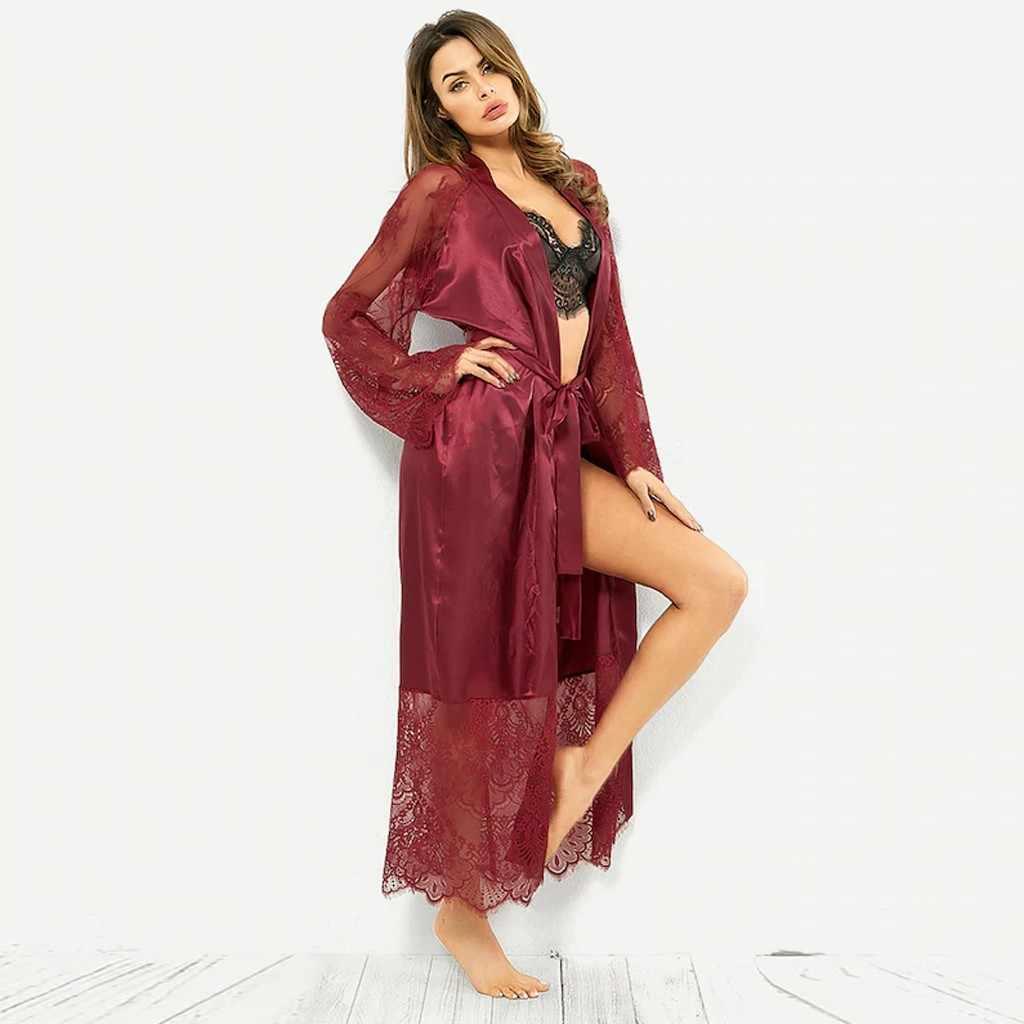 แขนยาว SASH หญิงชุดนอน Bathgown peignoir Femme Bain ยาว Coton ผ้าซาตินเจ้าสาว szlafrok เจ้าสาว # C