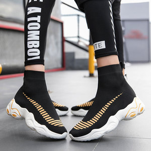 Image 3 - Mwy moda meia tênis feminino respirável elasticidade voando tecido casal sapatos casuais sola macia zapato mujer cunha plataforma