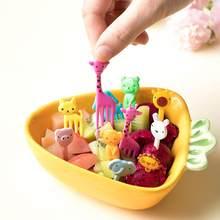 Mini crianças animal fazenda garfo frutas dos desenhos animados lanche bolo sobremesa comida frutas palito almoço decoração de festa cor aleatória