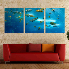 Laeacco Canvas Calligraphy Painting 3 Panel Underwater World Shark Animal Posters and Prints Wall Art Home Living Room Decor