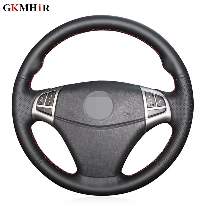 DIY Black Artificial Leather Hand-stitched Car Steering Wheel Cover for Ssangyong Korando 2011 2012 2013 2014 image