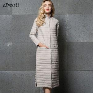 Image 1 - Long Down Jacket Women Long Jacket Grey Outwear Ultra light Down Coat Stand Collar Autumn Winter Jacket Casual Warm Coat YD 13